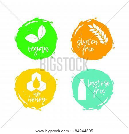 Set Of Food Labels - Allergens. Food Intolerance Symbols Collection. Vector Illustration