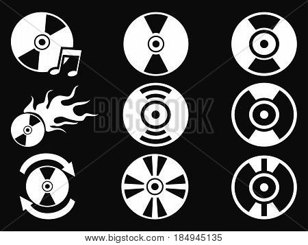 isolated white CD icons from black background