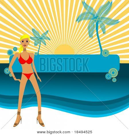 Vector - Girl in bikini posing in front of a paradise island, copy space to insert your text.