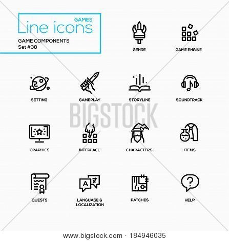 MMOG - modern vector single line icons set. Genre, engine, setting, gameplay, storyline, soundtrack, graphics, interface, character, item, quest, language, localization, patch, help