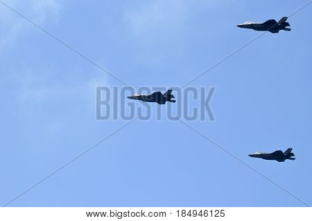 air Force parade in the sky of Israel Link fighter planes fighter-bombers Fifth generation