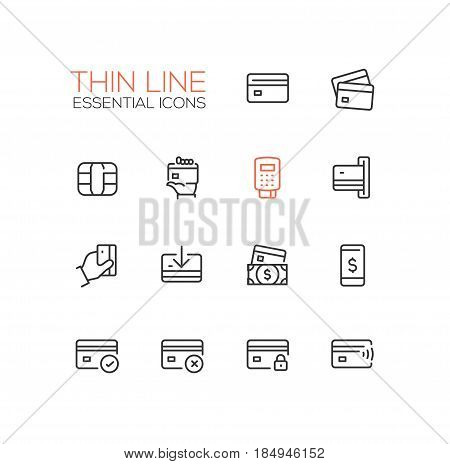 Finance - modern vector single thin line icons set. Credit card, microchip, hand, registrator, dollar bill, mobile device, check, denial, lock