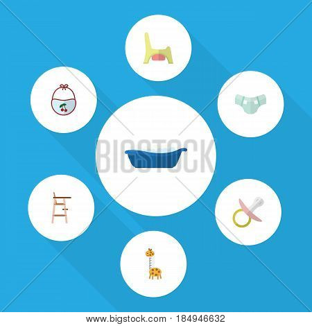 Flat Kid Set Of Toilet, Pinafore, Bathtub And Other Vector Objects. Also Includes Pampers, Stool, Baby Elements.