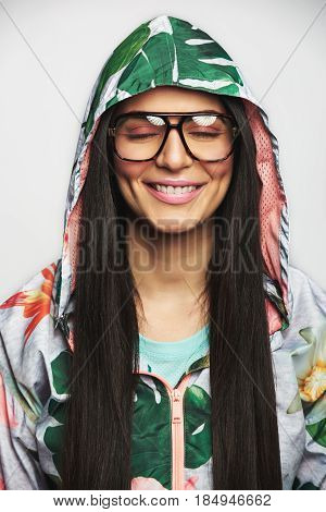 Beautiful Woman In Glasses And Jacket
