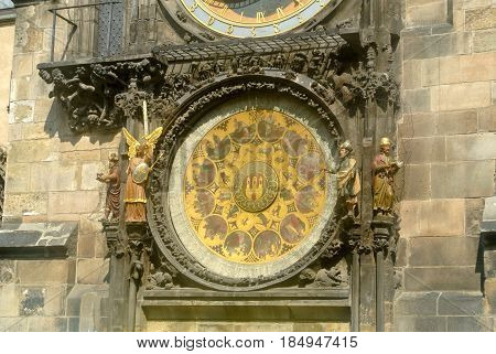 Prague astronomical clock, on the town hall tower in the old town