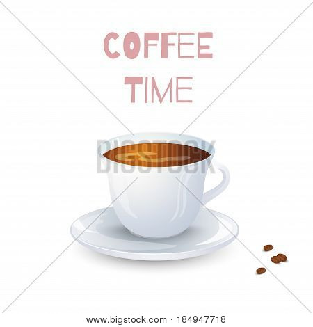 White cup with coffee on white background