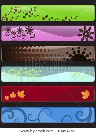 Vector - Many colorful banners with nature theme (floral, vines and retro).