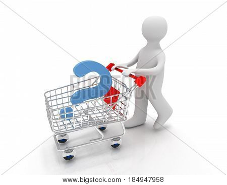 3d person with question mark on a pushcart .3D rendered illustration