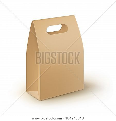 Vector Brown Blank Cardboard Rectangle Take Away Handle Lunch Box Packaging For Sandwich, Food, Gift, Other Products Mock up Close up Isolated on White Background