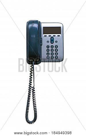 Office IP telephone set with big LCD isolated on the white background with clipping path