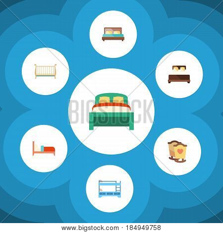 Flat Mattress Set Of Cot, Mattress, Bunk Bed And Other Vector Objects. Also Includes Bearings, Mattress, Hostel Elements.