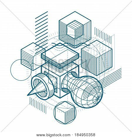Isometric Linear Abstract Vector Background, Lined Abstraction. Cubes, Hexagons, Squares, Rectangles