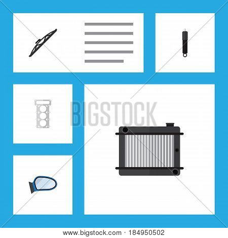 Flat Component Set Of Packing, Auto Component, Windshield And Other Vector Objects. Also Includes Mirror, Packing, Auto Elements.