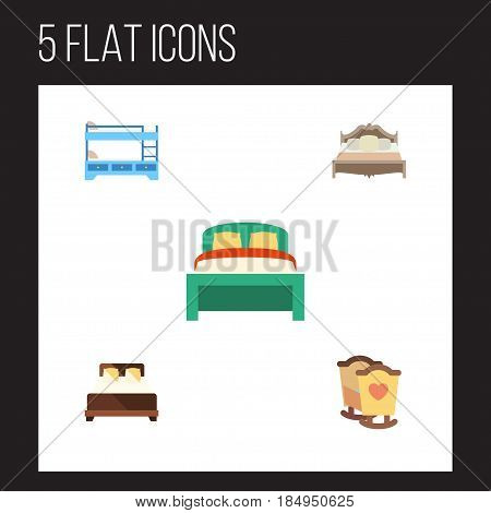 Flat Bed Set Of Furniture, Crib, Mattress And Other Vector Objects. Also Includes Cot, Bedding, Crib Elements.