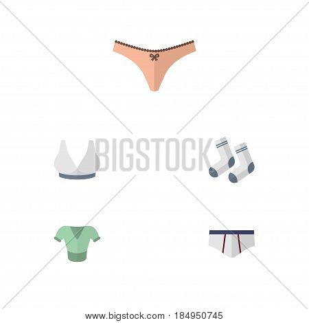 Flat Garment Set Of Lingerie, Brasserie, Underclothes And Other Vector Objects. Also Includes Sport, Briefs, Clothes Elements.