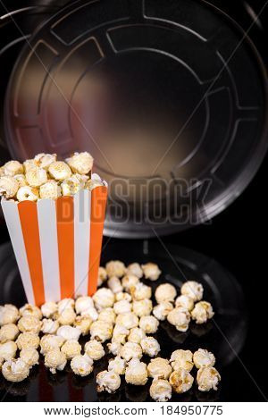 Reel or Movie role and popcorn concept Cinema and Movie theater