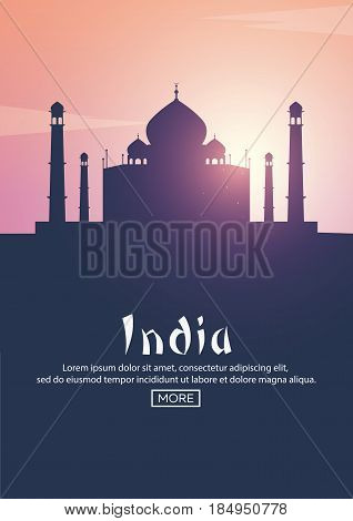 Travel Poster To India. Landmarks Silhouettes. Vector Illustration.