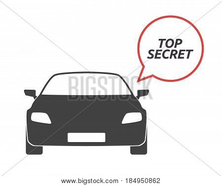 Isolated Car With    The Text Top Secret