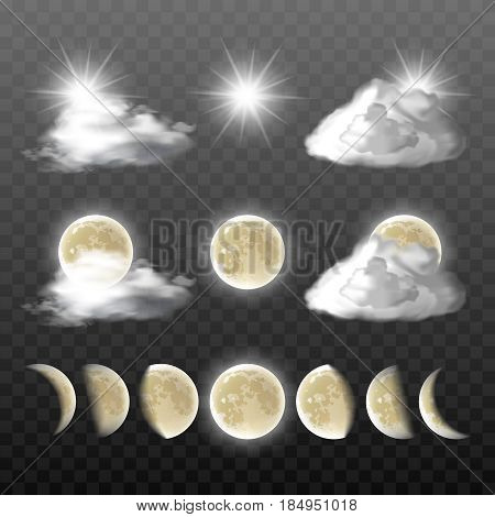 Set of vector realistic weather icons - sun, clouds, moon in different phases, isolated on transparent background