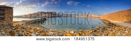 Panorama of the old Venetian harbour in Chania, Crete