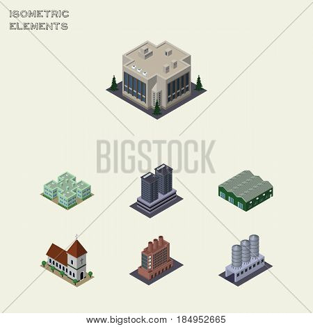 Isometric Urban Set Of Warehouse, Industry, Chapel And Other Vector Objects. Also Includes Factory, Warehouse, Office Elements.