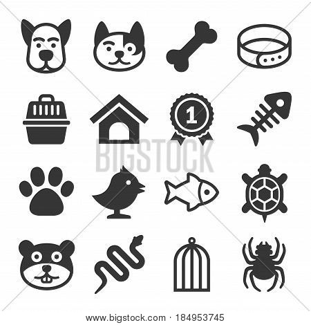 Pets Icons Set on White Background. Vector