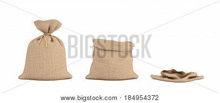 3d rendering of three isolated money bags, one full, one open and one empty. Earning and spending money. Wealth and poverty. Bank deposits.