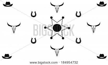 Cowboy Symbols including cow skull hat horseshoe and sheriffs badge