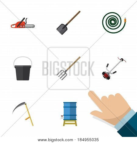 Flat Garden Set Of Shovel, Grass-Cutter, Container And Other Vector Objects. Also Includes Cutter, Hacksaw, Pitchfork Elements.