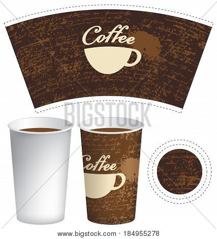 vector template paper cup for hot drink with cup of coffee on the background of manuscript with splashes and spots