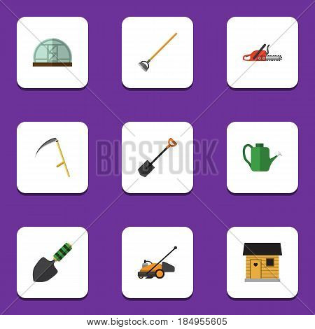 Flat Garden Set Of Spade, Hacksaw, Tool And Other Vector Objects. Also Includes Spade, Farmhouse, Trowel Elements.