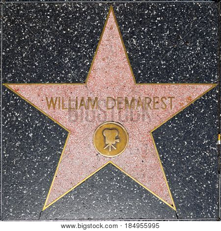 LOS ANGELES USA - JUNE 24 2012: William Demarest's star on Hollywood Walk of Fame in Hollywood California. This star is located on Hollywood Blvd. and is one of 2400 celebrity stars.