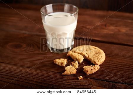 Cookies And Milk. Chocolate Chip Cookies And A Glass Of Milk. Vintage Look. Tasty Cookies And Glass