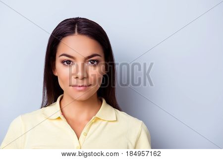 Confident Young Hispanc Woman In Casual Clothes On Pure Light Blue Backgrund