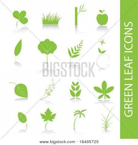 Vector - Green plants, leaves, trees icon symbol set.