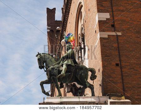 Horse Arcade in Ferrara, Italy. The statue of Duke Niccolò III d'Este.