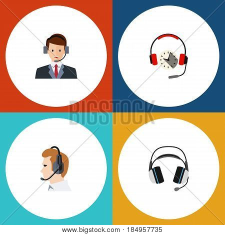 Flat Telemarketing Set Of Telemarketing, Hotline, Earphone And Other Vector Objects. Also Includes Hotline, Human, Telemarketing Elements.