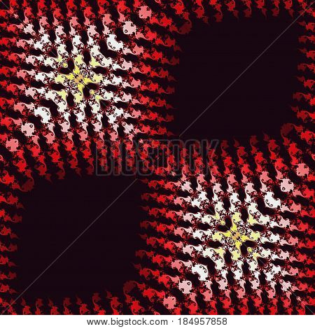 Abstract seamless layered fractal pattern with red, pink, white and yellow scalloped structure on a black background.