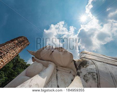 Reclining Buddha in Wat Khun Inthapramun, historical landmark in Thailand