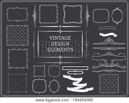 Vintage design elements set with ribbons elegant swirl ornaments borders and frames of different shapes isolated vector illustration