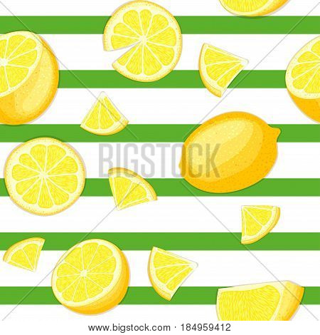 Ripe juicy tropical lemon striped seamless background. Vector card illustration. Fresh citrus yellow lime fruit on green lines. Seamless pattern for packaging design healthy food diet juce, detox tea
