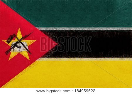 Flag Of Mozambique Grunge.