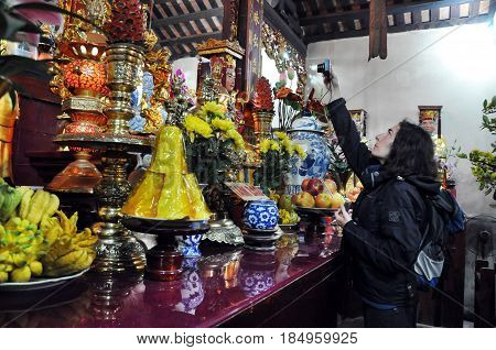 Traditional Offerings For Spirits And Gods In A Pagoda. Hanoi, Vietnam