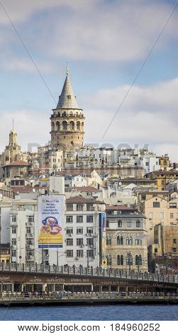 ISTANBUL, TURKEY-APRIL 2, 2017: View of Galata Tower in Istanbul and surrounding buildings