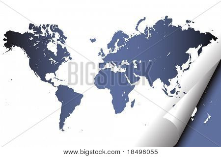 Vector - Digital world map atlas with realistic page curl effect