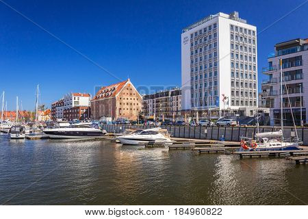GDANSK, POLAND - MAY 4, 2017: Marina at Motlawa river in old town of Gdansk. Gdansk is the historical capital of Polish Pomerania with medieval old town architecture.