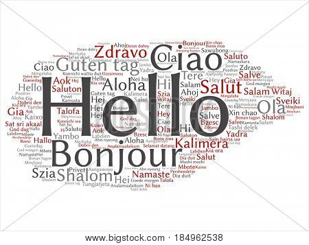 Concept or conceptual abstract hello or greeting international tourism word cloud in different languages or multilingual. Collage of world, foreign, worldwide travel, translate, vacation text