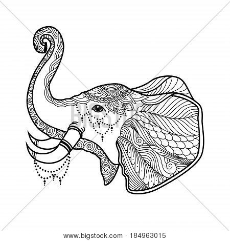 Elephant Boho Illustration in zentangle doodles style. stylized elephant tangled vector. coloring page for adult.