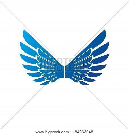 Blue wings heraldic symbol. Heraldic Coat of Arms decorative logo isolated vector illustration.