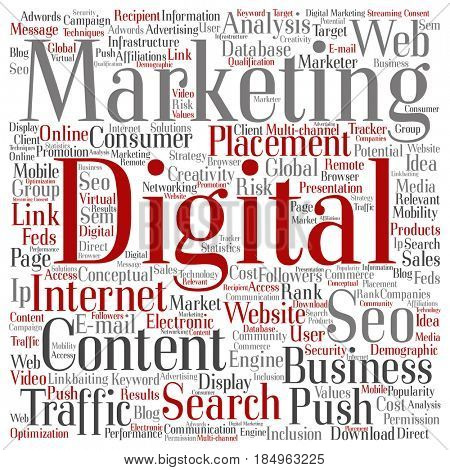 Concept or conceptual digital marketing seo traffic square word cloud isolated on background. Collage of business, market, content, search, web push, placement or communication technology text
